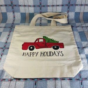 Happy Holidays Tote Red Truck Christmas Tree X-mas